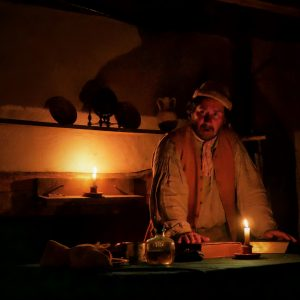 Haunted Henricus Interpreter Telling Story at Night