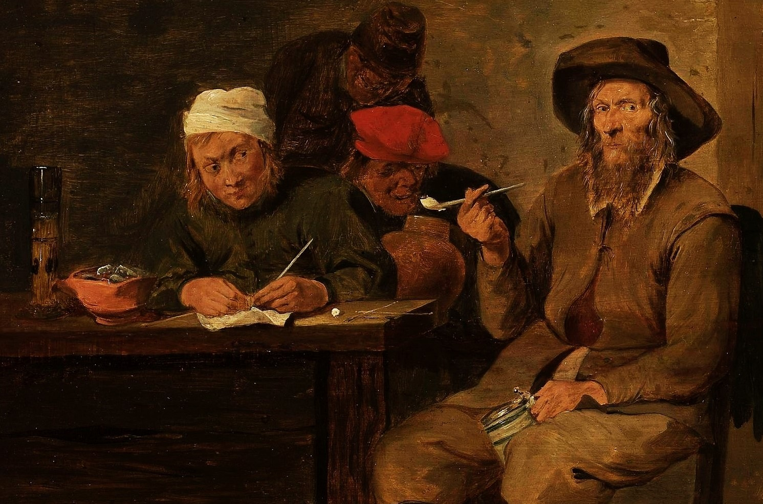 Man Smoking Tobacco with Pipe